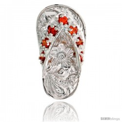"Sterling Silver Hawaiian Flip Flop Slippers Pendant, w/ Brilliant Cut Orange Sapphire-colored CZ Stones, 3/4"" (19 mm) tall"