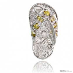 "Sterling Silver Hawaiian Flip Flop Slippers Pendant, w/ Brilliant Cut Yellow Topaz-colored CZ Stones, 3/4"" (19 mm) tall"
