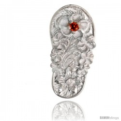 "Sterling Silver Hawaiian Plumeria Flip Flop Slippers Pendant, w/ Brilliant Cut Ruby-colored CZ Stone, 13/16"" (21 mm) tall"