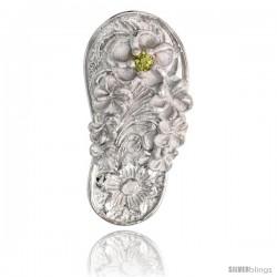 "Sterling Silver Hawaiian Plumeria Flip Flop Slippers Pendant, w/ Brilliant Cut Peridot-colored CZ Stone, 13/16"" (21 mm) tall"