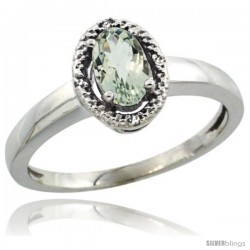 14k White Gold Diamond Halo Green Amethyst Ring 0.75 Carat Oval Shape 6X4 mm, 3/8 in (9mm) wide