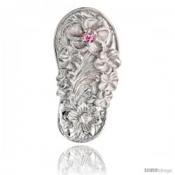 "Sterling Silver Hawaiian Plumeria Flip Flop Slippers Pendant, w/ Brilliant Cut Pink Tourmaline-colored CZ Stone, 13/16"" (21 mm)"