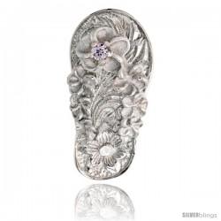 "Sterling Silver Hawaiian Plumeria Flip Flop Slippers Pendant, w/ Brilliant Cut Alexandrite-colored CZ Stone, 13/16"" (21 mm) tall"
