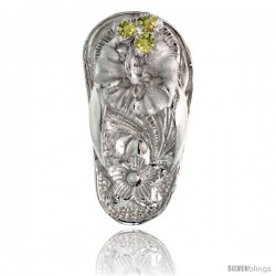 "Sterling Silver Hawaiian Hibiscus Flip Flop Slippers Pendant, w/ Brilliant Cut Peridot-colored CZ Stones, 3/4"" (19 mm) tall"
