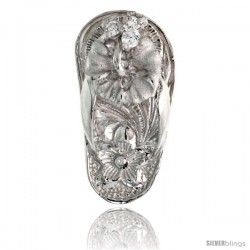 "Sterling Silver Hawaiian Hibiscus Flip Flop Slippers Pendant, w/ Brilliant Cut Clear CZ Stones, 3/4"" (19 mm) tall"