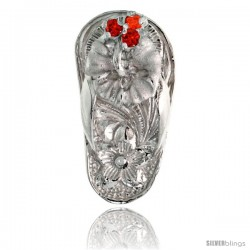 "Sterling Silver Hawaiian Hibiscus Flip Flop Slippers Pendant, w/ Brilliant Cut Ruby-colored CZ Stones, 3/4"" (19 mm) tall"