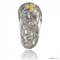 "Sterling Silver Hawaiian Hibiscus Flip Flop Slippers Pendant, w/ Brilliant Cut Yellow Topaz-colored CZ Stones, 3/4"" (19 mm) tall"