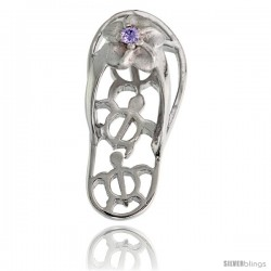 Sterling Silver Hawaiian Plumeria w/ Honu Sea Turtles Flip Flop Slippers Pendant, w/ Brilliant Cut Alexandrite-colored CZ