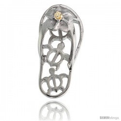 Sterling Silver Hawaiian Plumeria w/ Honu Sea Turtles Flip Flop Slippers Pendant, w/ Brilliant Cut Citrine-colored CZ Stone, 1""