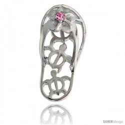 Sterling Silver Hawaiian Plumeria w/ Honu Sea Turtles Flip Flop Slippers Pendant, w/ Brilliant Cut Pink Tourmaline-colored CZ