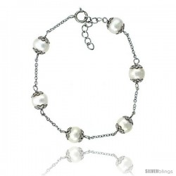Sterling silver Pearl Bracelet Freshwater 8 mm Rhodium Finish, 7 in long + 1 in. Extension