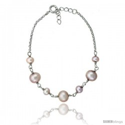 Sterling silver Pearl Bracelet Freshwater 7.5mm Rhodium Finish, 6.5 in long + 1 in. Extension
