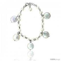 Sterling silver Pearl Bracelet Freshwater 14, & 5 mm Rhodium Finish, 6.5 in long + 1 in. Extension