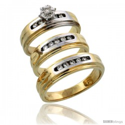 14k Gold 3-Piece Trio His (6mm) & Hers (6mm) Diamond Wedding Band Set w/ Rhodium Accent, w/ 0.33 Carat Brilliant Cut Diamonds