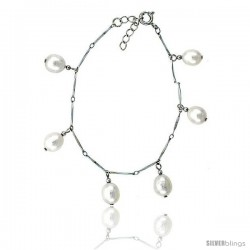 Sterling silver Pearl Bracelet Freshwater 8.5 mm Rhodium Finish, 6.5 in long + 1 in. Extension
