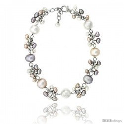 Sterling silver Pearl Bracelet Freshwater 8 and 4 mm Rhodium Finish, 7 in long + 1 in. Extension