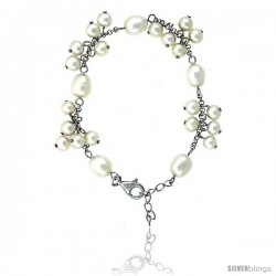 Sterling silver Pearl Bracelet Freshwater 8.5 and 5 mm Rhodium Finish, 7 in + 1 in. Extension.