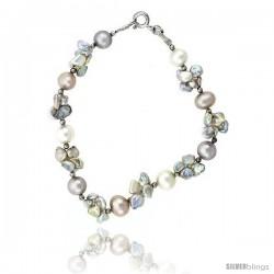 Sterling silver Pearl Bracelet Freshwater 5, & 7.5 mm Rhodium Finish, 8 in long