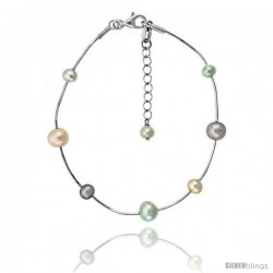 Sterling silver Pearl Bracelet Freshwater 7, & 5 mm Rhodium Finish, 7.5 in long + 1 in. Extension