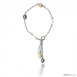 Sterling silver Pearl Bracelet Freshwater 6 mm Rhodium Finish, 6.5 in long + 1 in. Extension