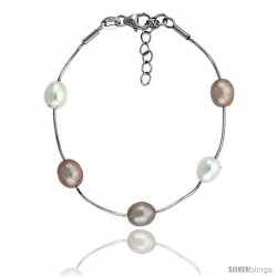 Sterling silver Pearl Bracelet Freshwater 8 mm Rhodium Finish, 6.5 in long + 1 in. Extension