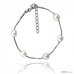 Sterling silver Pearl Bracelet Freshwater 8 mm Rhodium Finish, 6.5 in long + 1 in. Extension -Style Plb115