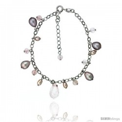 Sterling silver Pearl Bracelet Freshwater 8 mm Rhodium Finish, 4 mm Rose Quartz, 7.5 in + 1 in. Extension.