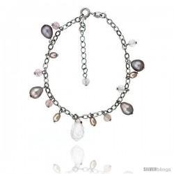 Sterling silver Pearl Bracelet Freshwater 8 mm Rhodium Finish, 4 mm Rose Quartz, 7.5 in + 1 in. Extension.