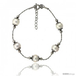 Sterling silver Pearl Bracelet Freshwater 8 mm Rhodium Finish, 7 in long + 1 in. Extension -Style Plb117