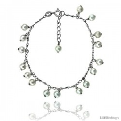 Sterling silver Pearl Bracelet Freshwater 5.5 mm Rhodium Finish, 6 in + 1.5 in Extension.