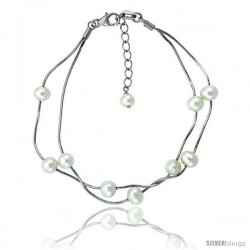 Sterling silver Pearl Bracelet Freshwater 6 & 5 mm Rhodium Finish, 7.5 in + 1 in. Extension.