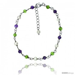 Sterling silver Pearl Bracelet Freshwater w/ Amethyst and Peridot Beads Rhodium Finish, 7 in + 1 in. Extension