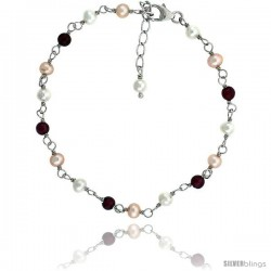 Sterling silver Pearl Bracelet Freshwater 4 mm Pearl & Garnet Beads Rhodium Finish, 7 in + 1 in. Extension