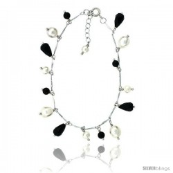 Sterling silver Pearl Bracelet Freshwater w/ Onyx Beads Rhodium Finish, 7 in + 1 in. Extension