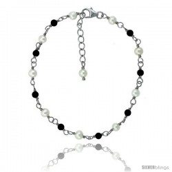 Sterling silver Pearl Bracelet Freshwater w/ Onyx Beads Rhodium Finish, 7 in + 1 in. Extension -Style Plb124