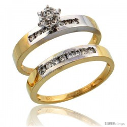 14k Gold 2-Piece Diamond Engagement Ring Set w/ Rhodium Accent, w/ 0.31 Carat Brilliant Cut Diamonds, 1/8 in. (3mm) wide