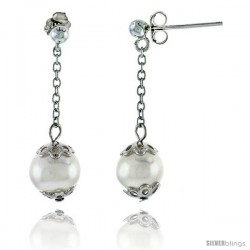 Sterling Silver Pearl Drop Earrings Natural Freshwater 8 mm Rhodium Finish, 29 mm Long