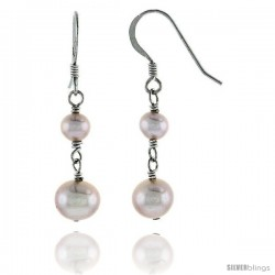 Sterling Silver Pearl Drop Earrings Natural Freshwater 7.5, & 5 mm Rhodium Finish, 23 mm Long