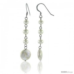 Sterling Silver Pearl Drop Earrings Natural Freshwater 14, & 5 mm Rhodium Finish, 47 mm Long