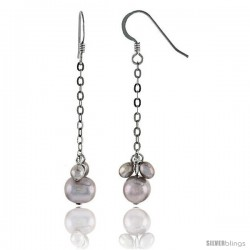 Sterling Silver Pearl Drop Earrings Natural Freshwater 8, & 5.5 mm Rhodium Finish, 48mm Long