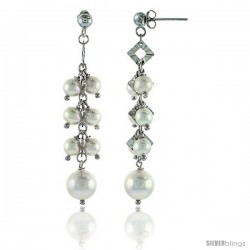 Sterling Silver Pearl Drop Earrings Natural Freshwater 5 mm Rhodium Finish, 53 mm Long