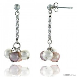 Sterling Silver Pearl Drop Earrings Natural Freshwater 5.5 mm Rhodium Finish, 29 mm Long