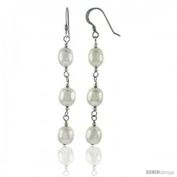 Sterling Silver Pearl Drop Earrings Natural Freshwater 8.5 mm Rhodium Finish, 47 mm Long