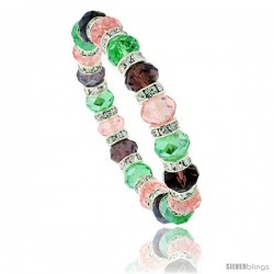 7 in Multi Color Faceted Glass Crystal Bracelet on Elastic Nylon Strand ( Pink Tourmaline, Peridot & Amethyst Color ), 3/8 in