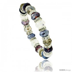 7 in. Multi Color Faceted Glass Crystal Bracelet on Elastic Nylon Strand ( Clear, Garnet, Smoky Topaz & Amethyst Color ), 3/8