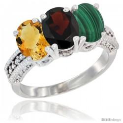 14K White Gold Natural Citrine, Garnet & Malachite Ring 3-Stone 7x5 mm Oval Diamond Accent