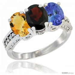14K White Gold Natural Citrine, Garnet & Tanzanite Ring 3-Stone 7x5 mm Oval Diamond Accent