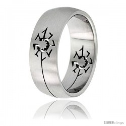Surgical Steel Sun Ring 8mm Domed Wedding Band Matte Finish