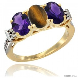 10K Yellow Gold Natural Tiger Eye & Amethyst Sides Ring 3-Stone Oval 7x5 mm Diamond Accent