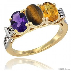 10K Yellow Gold Natural Amethyst, Tiger Eye & Whisky Quartz Ring 3-Stone Oval 7x5 mm Diamond Accent
